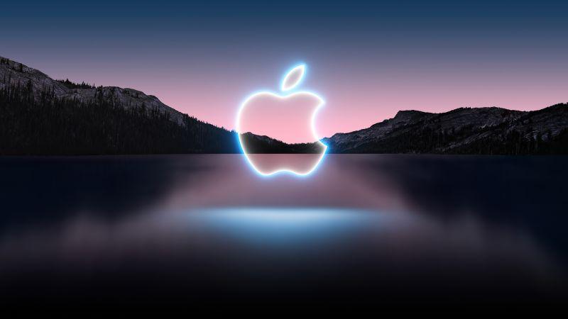 Apple Event 2021, Apple logo, Glowing, Reflection, Lake, Mountains, Sunset, Dark, Landscape