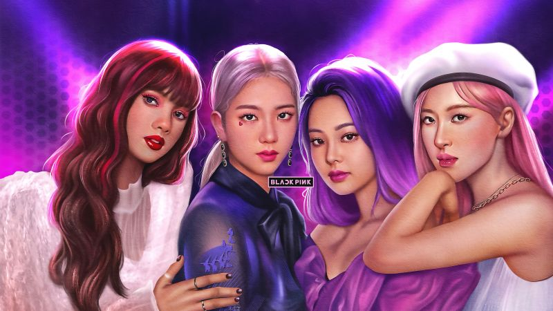 Lisa, Jisoo, Jennie, Rose, Blackpink, Artwork, Girly backgrounds, K-Pop singer, Korean singers, Wallpaper