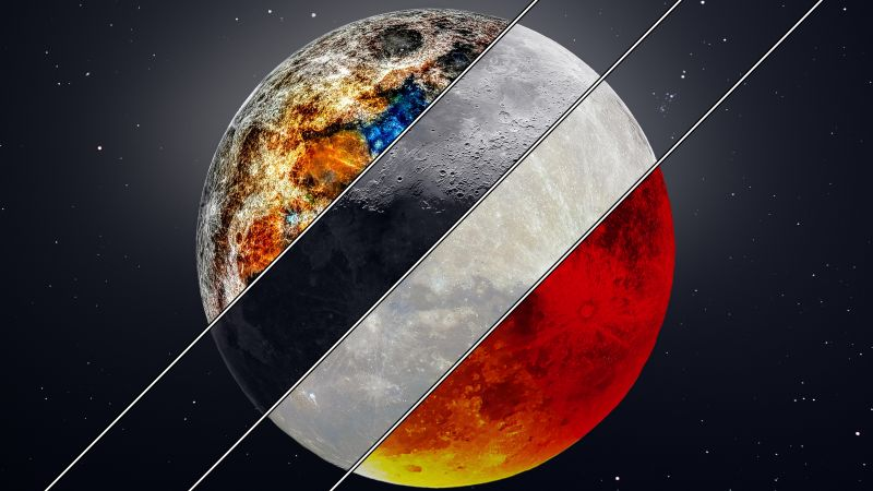 Mineral Moon, Supermoon, Crescent Moon, Blood Moon, 8K, Wallpaper