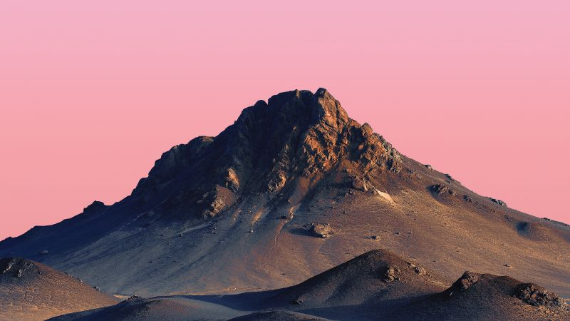 Peak, Mi Pad 5 Pro, Mountains, Pink sky, Peach, Desert, Sunset, Evening, Stock, Wallpaper