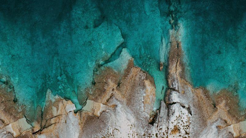 Rocks, Mi Pad 5 Pro, Aerial view, Drone photo, Seashore, Stock, Wallpaper