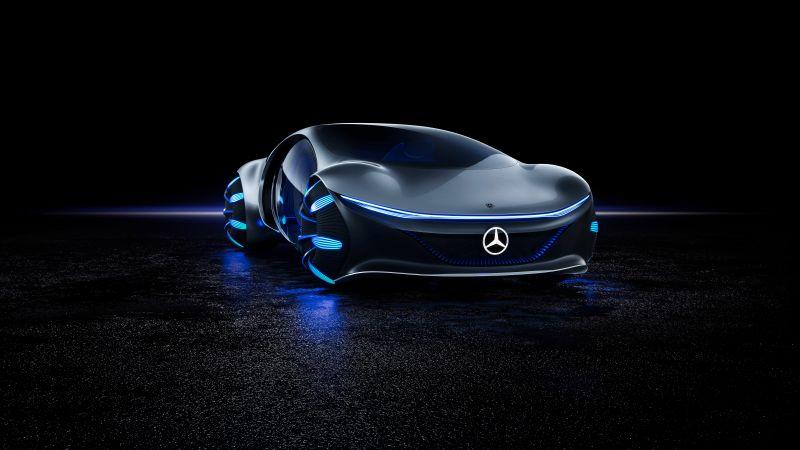 Mercedes-Benz VISION AVTR, Concept cars, Black background, 2020, 5K, 8K, Wallpaper