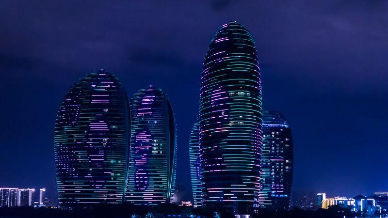 Phoenix Island Resort, Sanya, China, Skyscrapers, Luxury Hotel, Modern architecture, Tourist attraction, Night time, 5K, Wallpaper