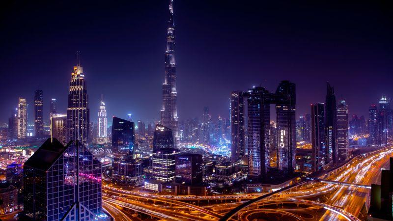 Burj Khalifa, Dubai City Skyline, Skyscrapers, Cityscape, Night time, City lights, Highway junction, 5K, Wallpaper