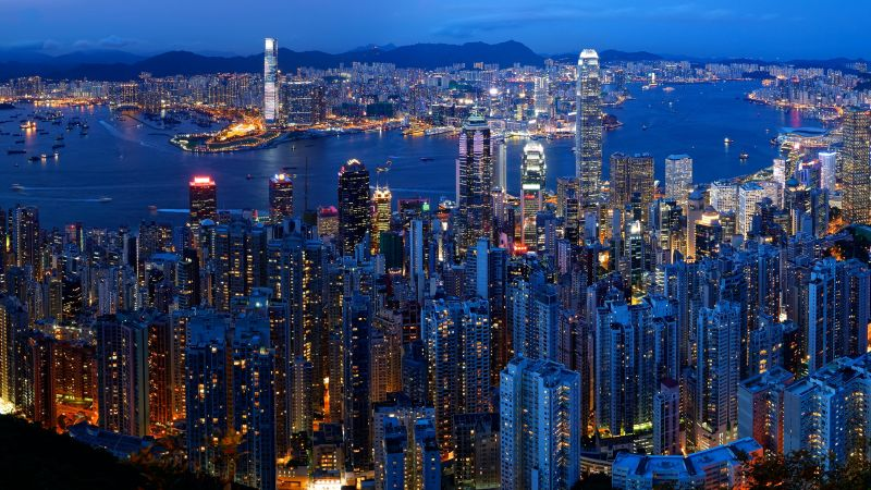 Victoria Peak, Hong Kong City Skyline, Victoria Harbour, Dusk, Blue hour, Cityscape, Skyscrapers, Aerial view, Long exposure, Night time, City lights, 5K, Wallpaper