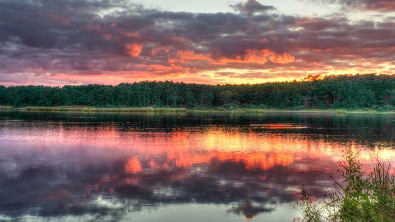 Huntington Beach State Park, North Carolina, Sunset, Cloudy Sky, Body of Water, Reflection, Evening sky, Dusk, Landscape, Scenery, 5K, Wallpaper