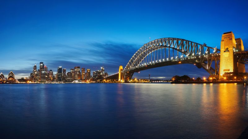 Sydney Harbour Bridge, Opera House, Australia, Cityscape, Night time, Body of Water, Skyline, Reflection, Blue Sky, Panorama, Long exposure, 5K, 8K