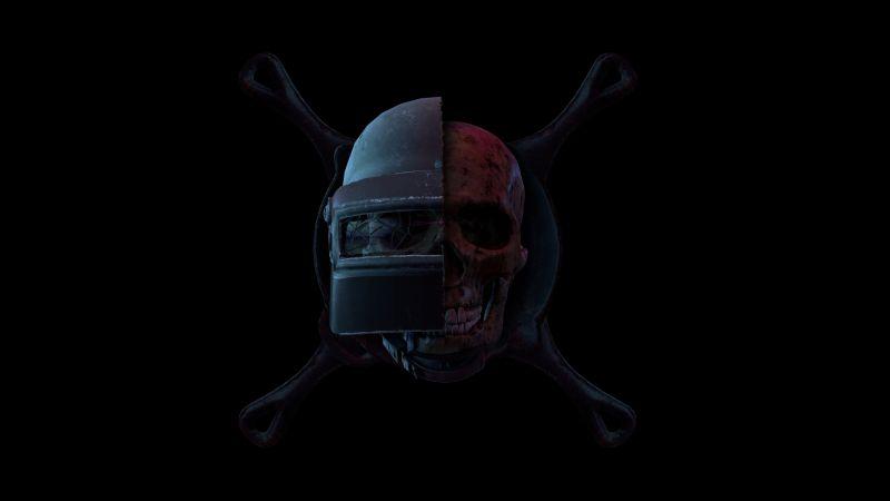 PUBG, PUBG helmet, Skull, Black background, Wallpaper