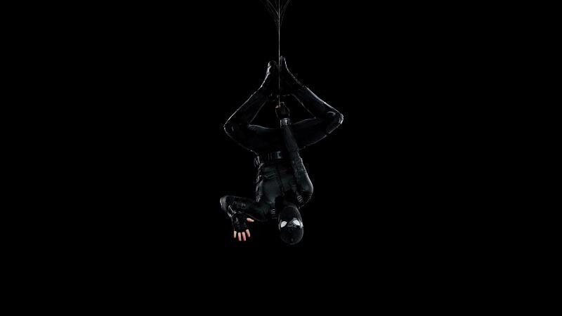 Spider-Man, Black suit, Spider-Man: Far From Home, Black background, Wallpaper