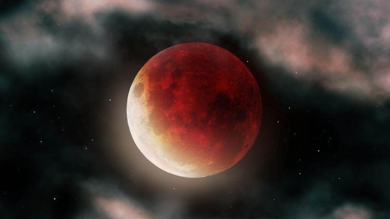 Blood Moon, Clouds, Dark, Night, 5K, Wallpaper