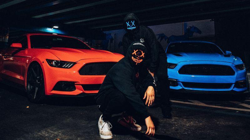Ford Mustang, LED masks, Person, Hoodie, Anonymous, Black Hoodie, Dark, Wallpaper