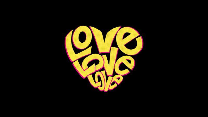 Love word, Love heart, Black background, Yellow, Wallpaper