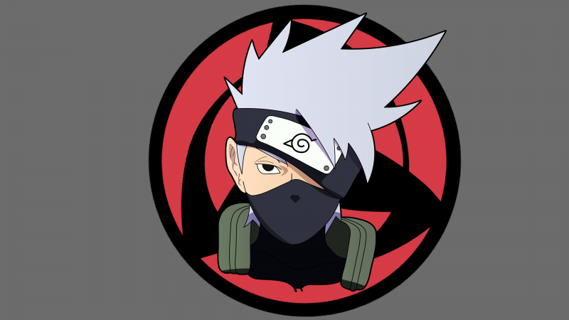 Kakashi Hatake, Naruto, Minimal art, Grey background, 5K, 8K