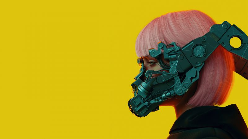 Mecha Girl, Cyberpunk girl, 3D, Yellow background