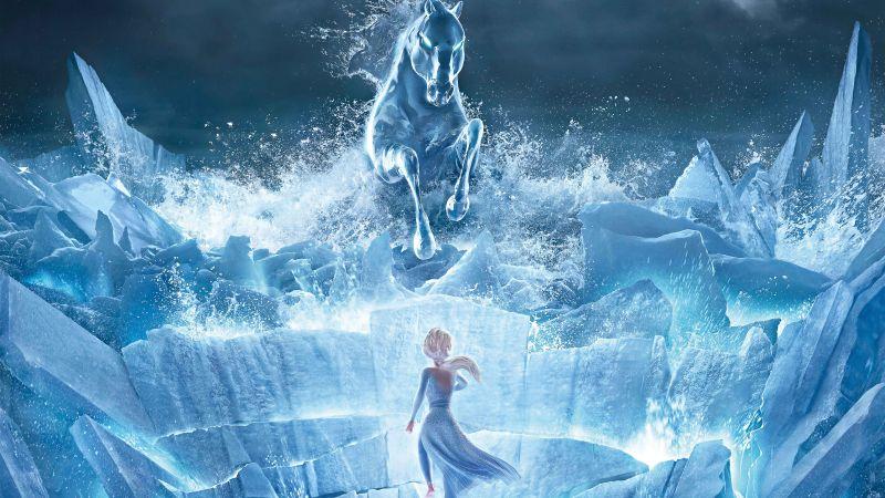 Elsa, Frozen 2, The Nokk, Water Spirit, Animation, Wallpaper