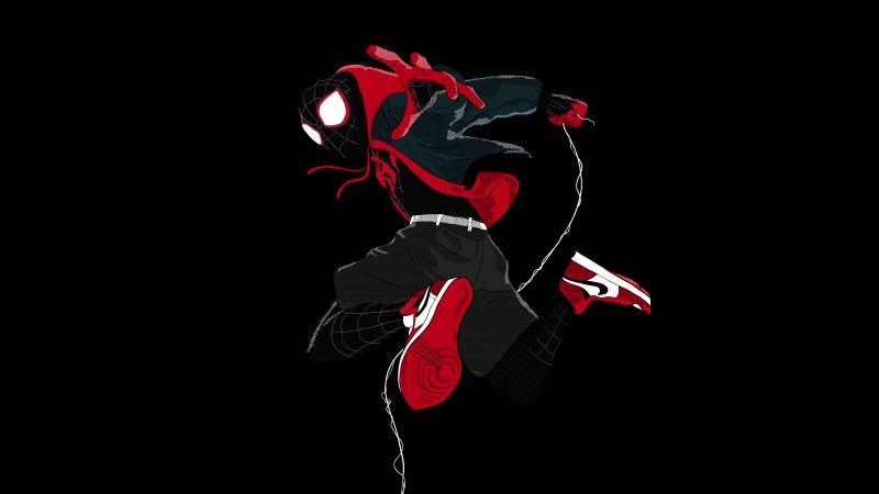 Miles Morales, Spider-Man: Into the Spider-Verse, 5K, 8K, Black background
