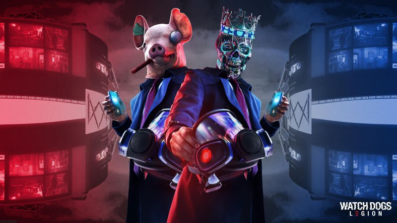 Watch Dogs: Legion, Ded Coronet Mask, Pig mask, PlayStation 5, PlayStation 4, Xbox Series X, Xbox One, Google Stadia, PC Games, 2020 Games, Wallpaper