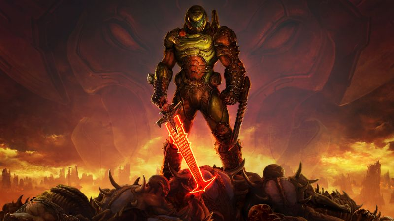 Doom Eternal, Doomguy, Doom Slayer, PC Games, PlayStation 4, Google Stadia, Xbox One, Nintendo Switch, 2020 Games, 5K, Wallpaper