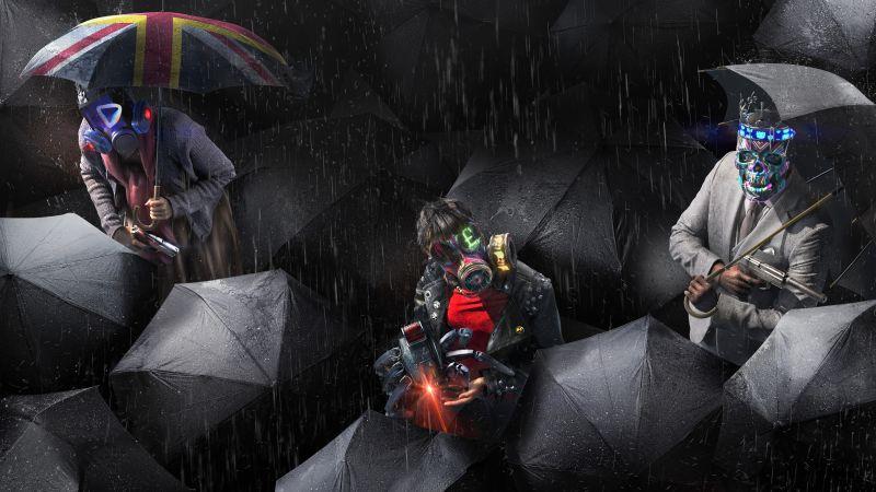 Watch Dogs: Legion, PlayStation 5, PlayStation 4, Xbox Series X, Xbox One, Google Stadia, PC Games, 2020 Games, 5K, Dark background, Wallpaper