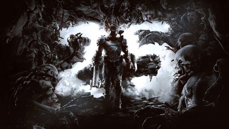 Doom Eternal, 25th Anniversary, Doomguy, Doom Slayer, PlayStation 4, Google Stadia, Xbox One, Nintendo Switch, PC Games, 2020 Games, 5K, 8K, Wallpaper