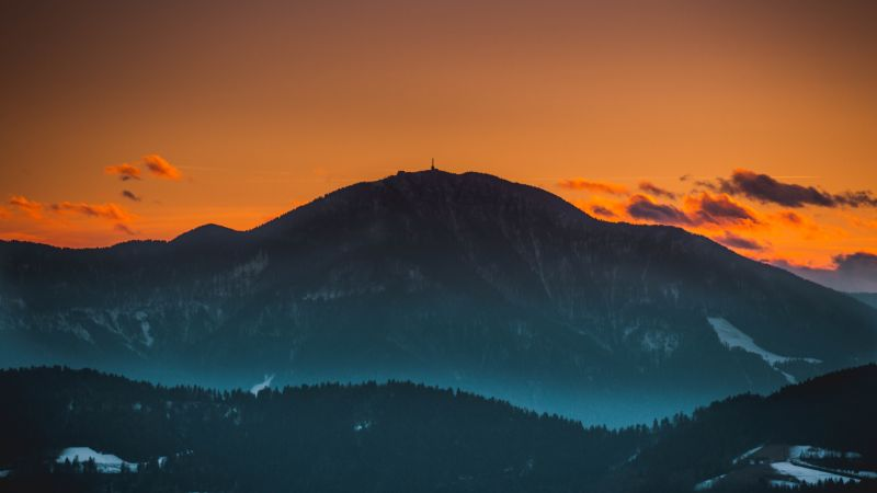 Mount St. Ursula, Peak, Dawn, Dusk, Sunset, Evening sky, Slovenia, 5K, Wallpaper