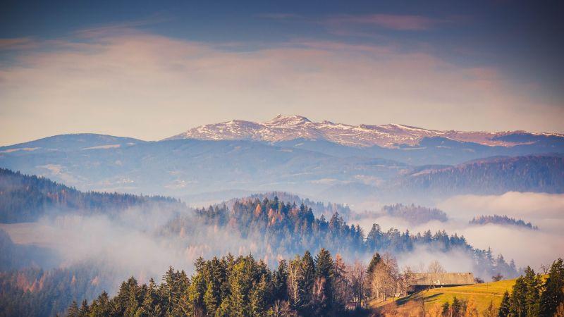 Kamnik Alps, Mountain range, Forest, Mountains, Landscape, Mist, Mountains, Travel, Scenery, Slovenia, 5K, Wallpaper