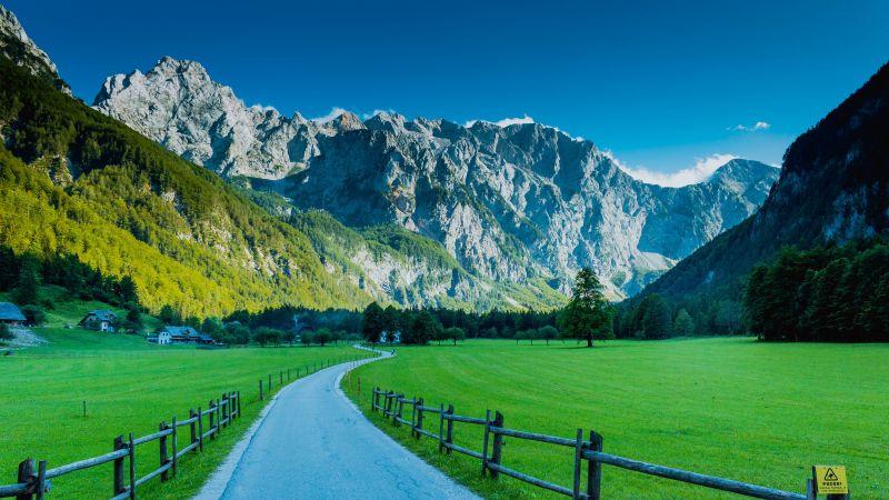 Logar Valley, Road, Kamnik Alps, Mountains, Slovenia, 5K