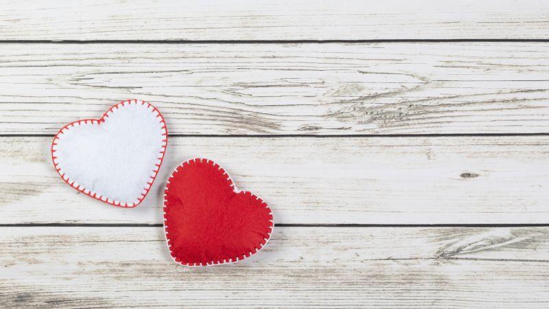 Love hearts, Red heart, White heart, Wooden background, 5K, Wallpaper