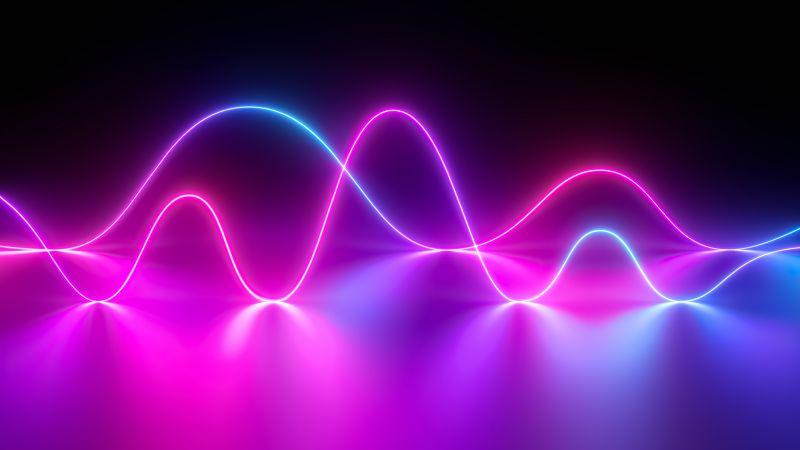 Neon light, Waves, Huawei MediaPad, Stock, Pink, Wallpaper