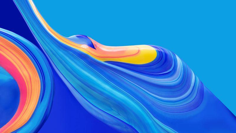 Huawei Mediapad, Stock, Creamy, Blue, HD, Wallpaper