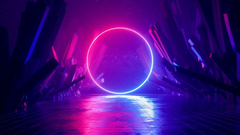 Neon light, Ring, Huawei MediaPad, Stock, Wallpaper