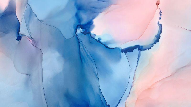 Huawei MediaPad, Watercolors, Blue, Stock, Wallpaper