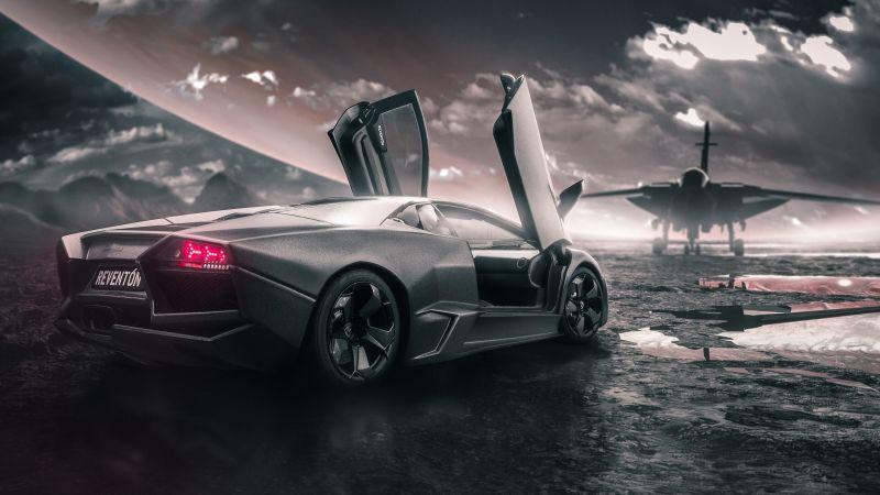 Lamborghini Reventon, Jet fighter, Sports cars, Black cars, Wallpaper