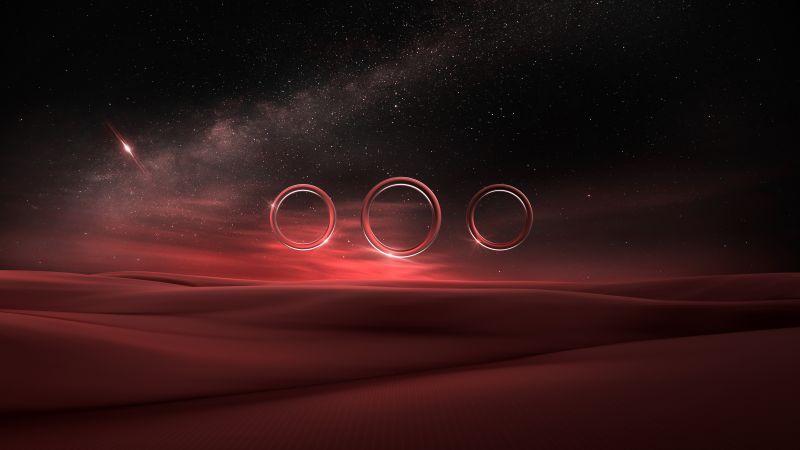 Desert, Starry sky, Night, Circles, Fusion, Illusion, Wallpaper