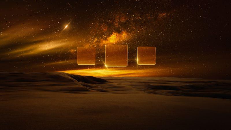 Desert, Nebula, Milky Way, Starry sky, Astronomical, Squares, Dark, Dusk, Fusion, Illusion, Landscape, Wallpaper