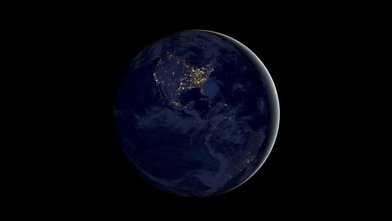 Earth, Night, iOS 11, Stock, Black background, iPad, Wallpaper