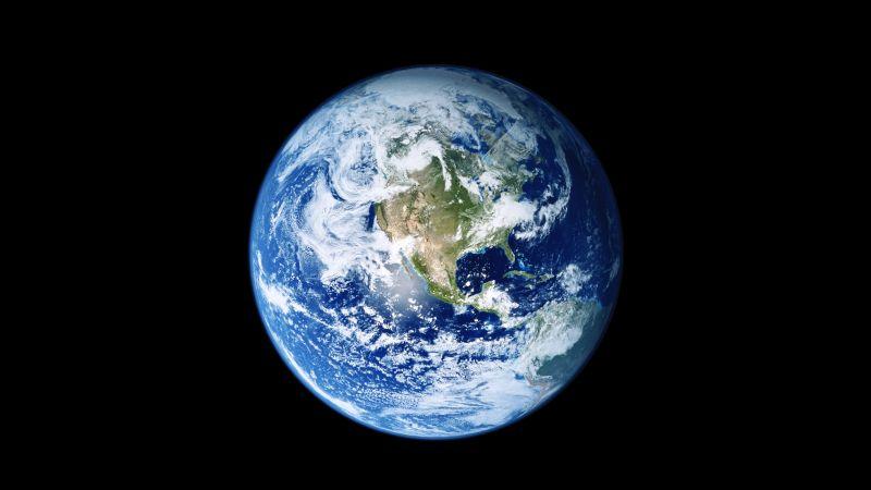 Earth, iOS 11, Stock, Black background, iPad, Wallpaper