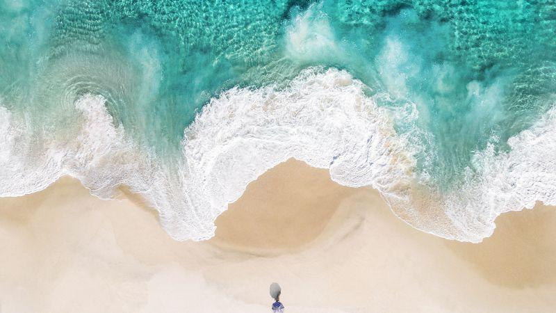 Beach, Aerial view, Ocean, iOS 10, Stock, Wallpaper