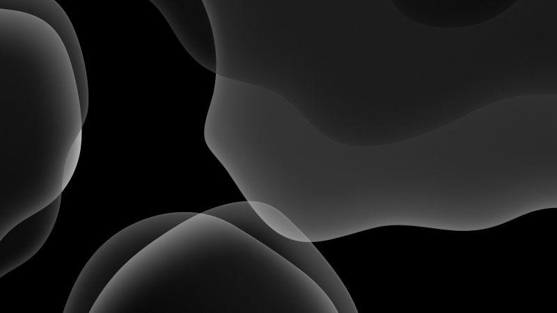 iOS 13, Stock, Dark green, Black background, AMOLED, iPad, HD, Wallpaper