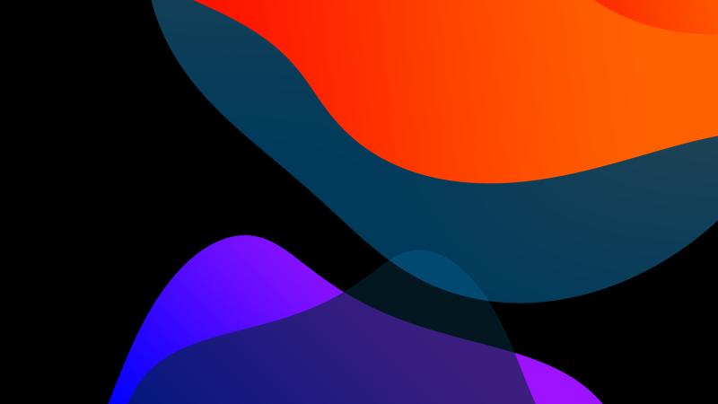 iOS 13, Stock, Multicolor, Black background, iPad, HD, Wallpaper