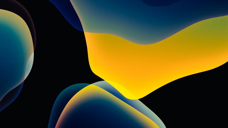 iOS 13, Stock, iPadOS, Yellow, Black background, AMOLED, HD, Wallpaper