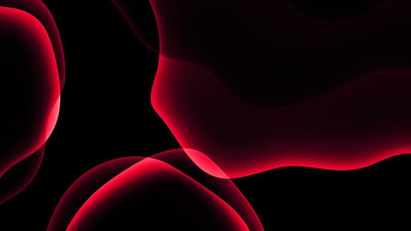 iOS 13, Stock, iPadOS, Red, Black background, AMOLED, HD, Wallpaper