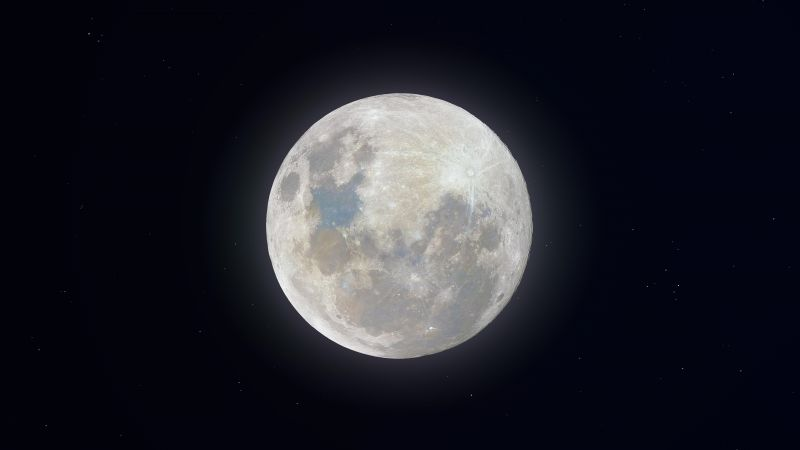 Super Snow Moon, Full Moon, Night, Glowing, 8K, Wallpaper
