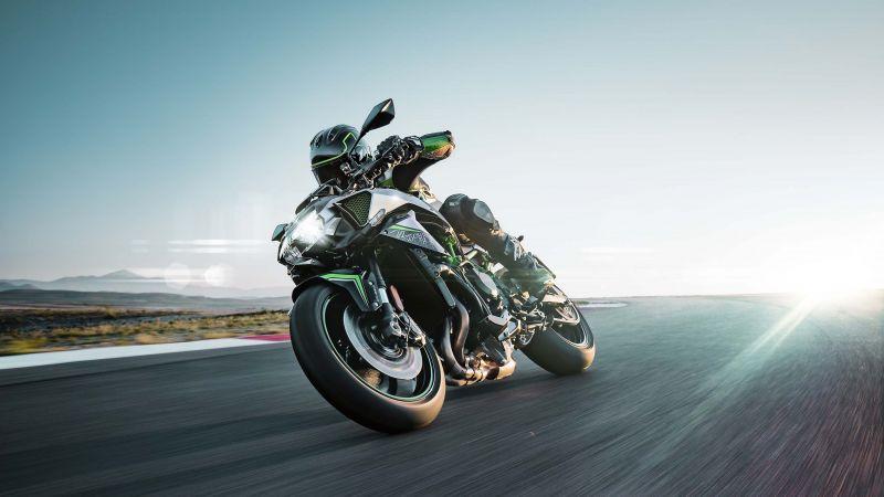 Kawasaki Z H2, Superbikes, Black background, 2020, Racing bikes, Wallpaper