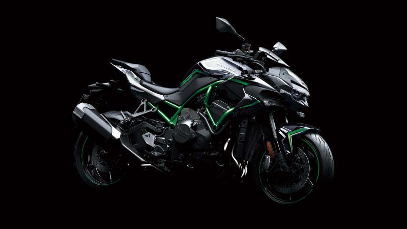 Kawasaki Z H2, Superbikes, Black background, 2020, Wallpaper