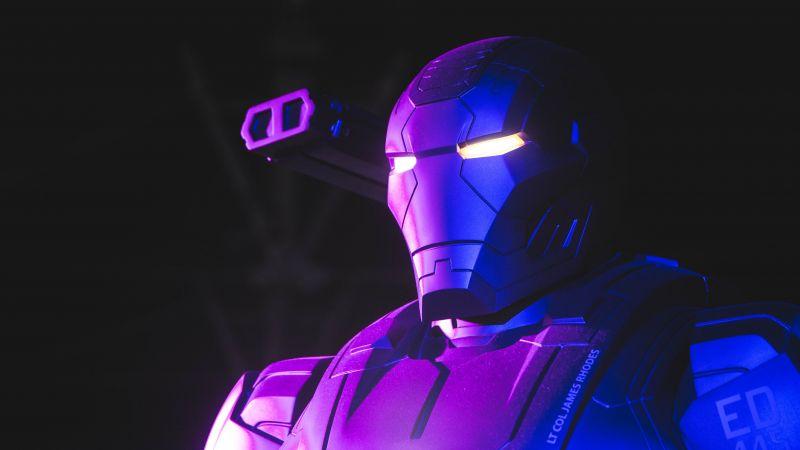 War Machine, Neon, Marvel Superheroes, Dark background, 5K, Wallpaper