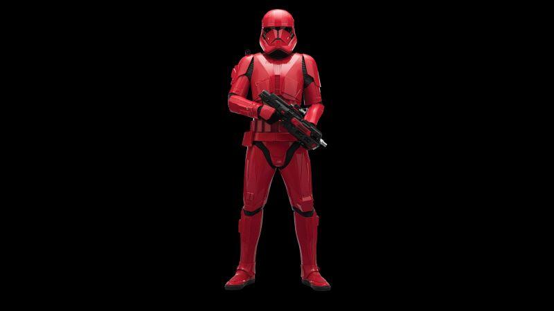 Sith Trooper, Star Wars: The Rise of Skywalker, Black background, 5K, 8K, Wallpaper