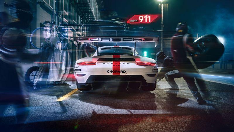 Porsche 911 RSR, Pit stop, Endurance racing, Wallpaper