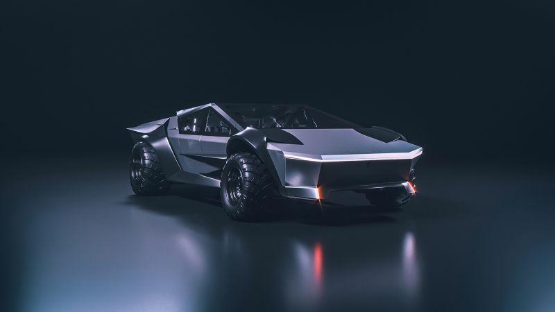 Tesla Cybertruck, Concept cars, Dark background, Wallpaper