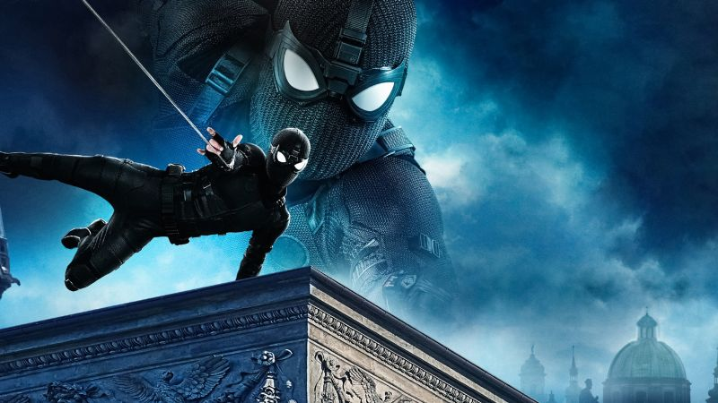 Spider-Man: Far From Home, Night Monkey, Black suit, Wallpaper
